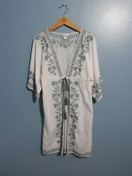 Artisan ny Embroidered Cover Up With Drawstring Size Small $15.00