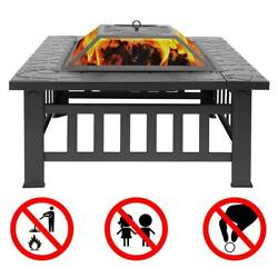 32quot; Fire Pit BBQ Square Table Backyard Patio Garden Stove Wood Burning Fireplace $79.59
