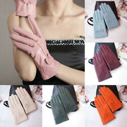 Women Bow Leather Warm Thickened Gloves Touch Screen Cycling Windproof Gloves $11.51