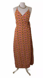 Free People Siren Wrap Maxi Women#x27;s Dress Geometric Sz L $25.25