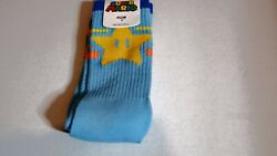 Super Mario Super Star Socks Nintendo Crew Socks Loot Crate Exclusive Blue $8.00