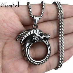 MENDEL Mens Gothic 3D Dragon Head Ring Pendant Necklace Stainless Steel Chain