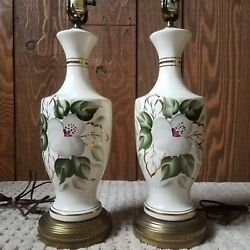 Signed Pair Of Matching Ceramic Floral Green White And Gold Vintage Lamps $110.00
