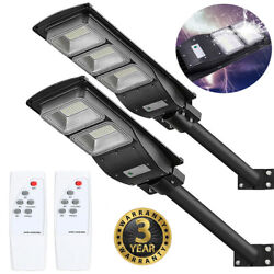 900000LM Solar Street Light LED Outdoor IP67 Dusk to Dawn Area Road Spotlight RG