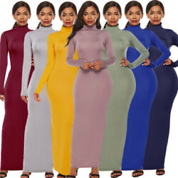 Women Bodycon Solid Turtleneck Casual Slim Long Sleeve Stretch Party Maxi Dress $18.99