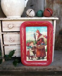 Small Antique Tin Toleware Tray w Old Christmas Postcard Print Free Shipping $14.95
