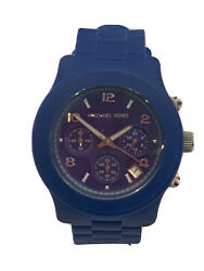 Michael Kors All Silicone Blue Runway Chrono Watch MK5293 Unisex