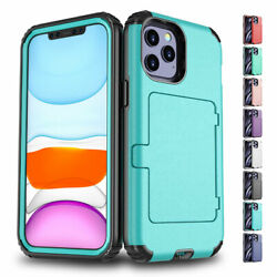 For iPhone 11 12 Pro Max XS XR Card Pocket Holder Wallet Stand Phone Case Cover $9.50