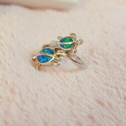 Ado Glo Sterling Silver Duo Sea Turtle Opal Inlay Ring Size 5.5 $22.00
