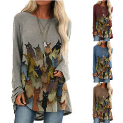 Women Long Sleeve Crew Neck Cat Print T Shirt Tee Loose Tunic Casual Tops Blouse $16.57