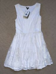 NWT Women's Juniors Lily Rose White Lace Dress size M Medium $15.00
