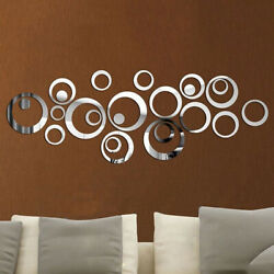 24X Removable 3D Mirror Wall Stickers Circle Decal Art Mural Home Room DIY Decor $6.97