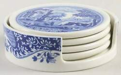 Spode Blue Italian 5pc Coaster Set 4 Coaster amp; Holder 11798652 $19.99