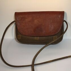 Texier Brown Leather Two Tone Shoulder Crossbody Bag Coated Canvas $12.99