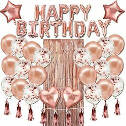 48 Pcs Happy Birthday Balloons Banner Rose Gold Foil Decorations Party Supplies $17.39