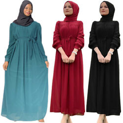Womens Fashion Chiffon Long Sleeve Maxi Dress Prayer Dubai Kaftan Casual Robe $41.55