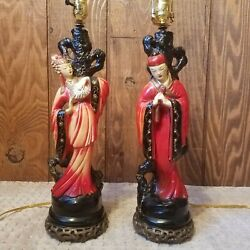 Oriental Pair Of Vintage Lamps With New Wiring And Sockets $180.00
