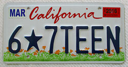 California quot;Kids Starquot; graphic Personalized Vanity License Plate: quot;6*7TEENquot; $33.00