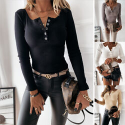 Women Casual Long Sleeve Button Slim Stretch Knit T Shirt Blouse Loose Sexy Tops $15.93