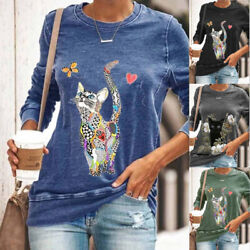 Womens Long Sleeve Lovely Cat Print T Shirt Loose Crew Neck Casual Tops Blouse $15.93