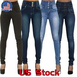 Women High Waisted Denim Pants Jeans Ladies Button Stretchy Skinny Jeggings Pant $16.99