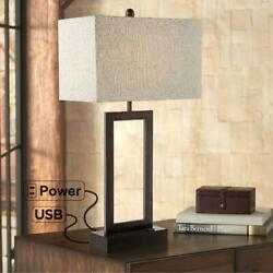 360 Lighting Modern Table Lamp with USB and AC Power Outlet in Base Bronze Recta $94.68