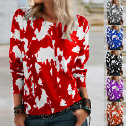 Women Casual Floral Print T Shirt Long Sleeve Crew Neck Blouse Loose Sweater Top $14.87