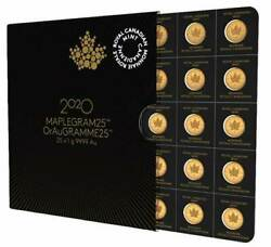 2020 MAPLEGRAM Sheet of 25 One Gram Gold Coins $1799.00