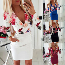 Womens Floral Bodycon Mini Dress Ladies Sexy Long Sleeve Evening Party Dresses $8.99
