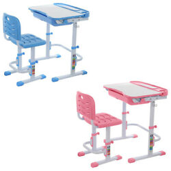 US Height Adjustable Children Desk and Chair Set Student Study Table School Desk $14.57
