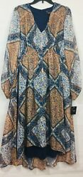 Just... Taylor Brown Navy Multi Maxi Women#x27;s Dress Long Sleeve V Neck NWT 12 $41.50