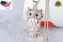 New Fashion Jewelry Crystal Opal Owl Pendant Chain Gold Sweater Long Necklace