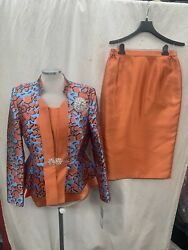 TALLY TAYLOR SKIRT SUIT SIZE 8 RUST MULTI SKIRT LENGTH 32quot; LINED NEW WITH TAG $79.99