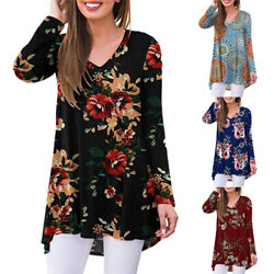 Women Casual Boho Long Sleeve Floral V Neck T Shirt Blouse Loose Tunic Warm Tops $18.14