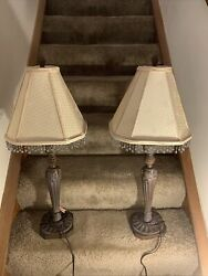 Pair Of Vintage Lamps With Shades And Beads On Shades $110.00