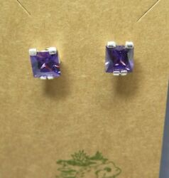 Contemporary Deep Purple Prisms Sterling Silver 925 Solitaire Earrings 3 8quot; $6.00