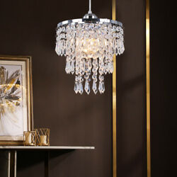 Crystal Pendant Light Adjustable Modern Ceiling Lamp Chandelier Lighting Fixture $35.99