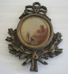 French Antique Hand Painted Miniature Landscape Bronze Or Copper Frame $80.00