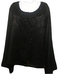 New Direction Formal Party Tunic Top Jacket XL Black Damask Beads Birthday Gift $18.88