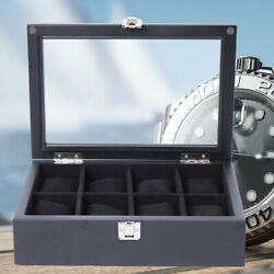Black Solid Wood Watch Display Box Showcase for Store Home Watches Display New $29.30