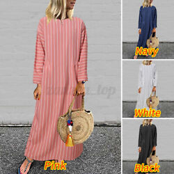 US Women Long Sleeve Crew Neck Striped Kaftan Dress Casual Holiday Long Dresses $17.66