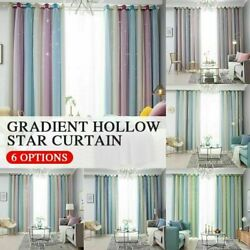 Star Curtains Stars Blackout Curtains for Kids Girls Bedroom Living Room O4E1 $14.00