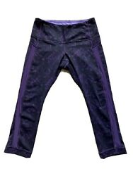 Lululemon Wunder Under Women's Mid Rise Leggings Blackamp;Purple Color $35.00