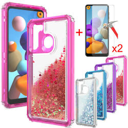 For Samsung Galaxy A01 A11 A21 CaseGlitter Bling CoverTempered Glass Protector $7.99