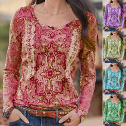 Women Crew Neck Long Sleeve T Shirt Casual Boho Print Blouse Loose Fit Tunic Top $15.94
