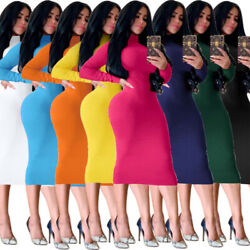 Women Bodycon High Neck Casual Slim Long Sleeve Sexy Stretch Party Maxi Dress $16.49