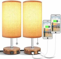 Bedside Desk Lamp with Dual USB Charging Ports Round Fabric Lamp Sets 2 Packs $83.99