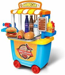 Kitchen Set for Kids BBQ Grill Toy Play Kitchen for Toddlers BBQ Cart Play Set A $34.19