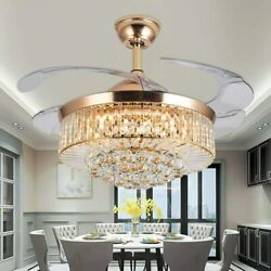 36quot; Gold LED Invisable Ceiling Fan Lamp Crystal Lighting Remote Chandeliers $135.99