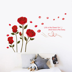 Red Rose Wall Decal Mural Removable Flowers Wall Sticker Vinyl DIY Wall Decor US $6.43